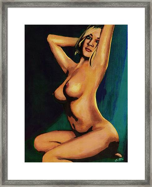 Framed Print featuring the painting Original Fine Art Female Nude Painting Seated 7c Mods1c by G Linsenmayer