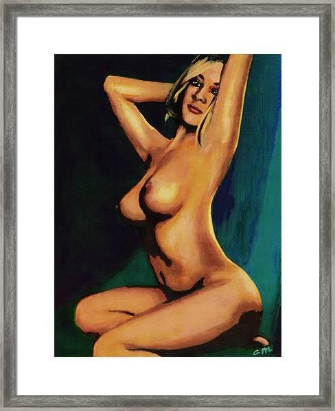 Original Fine Art Female Nude Painting Seated 7c Mods1c Framed Print