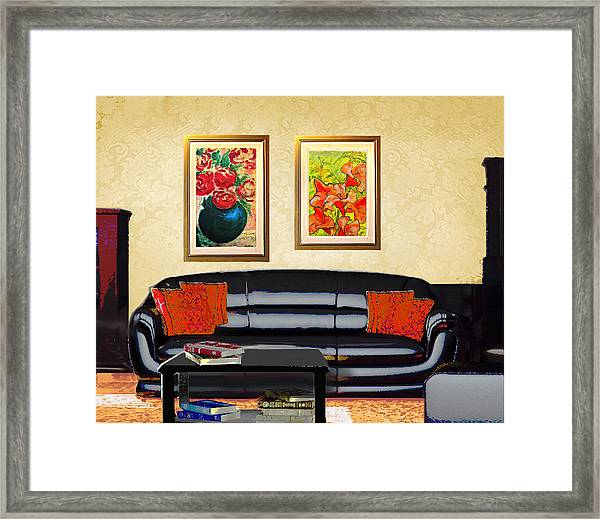 Framed Print featuring the painting Original Fine Art Home Decor Flowers by G Linsenmayer