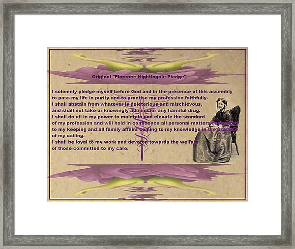 Original Florence Nightingale Pledge Poster Framed Print