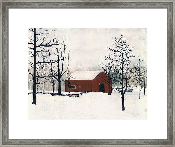 Original Painting Red Barn Snow Maryland Framed Print