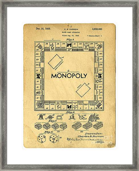 Framed Print featuring the digital art Original Patent For Monopoly Board Game by Edward Fielding