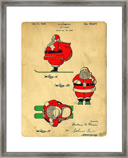 Framed Print featuring the digital art Original Patent For Santa On Skis Figure by Edward Fielding