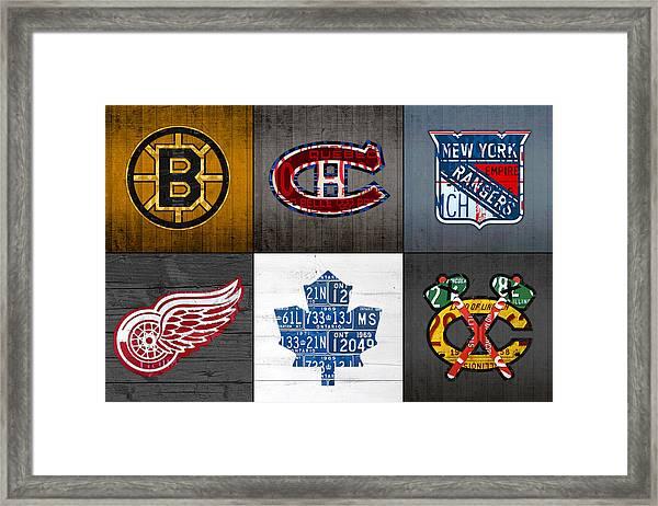 Original Six Hockey Team Retro Logo Vintage Recycled License Plate Art Framed Print