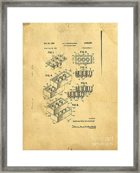Framed Print featuring the digital art Original Us Patent For Lego by Edward Fielding