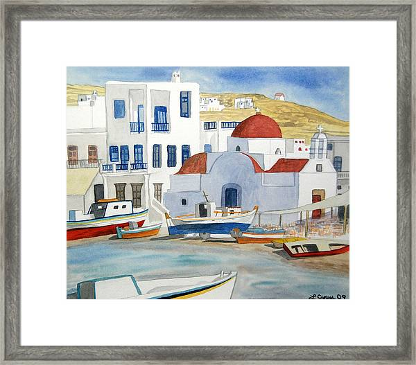 Watercolor - Mykonos Greece Detail Framed Print