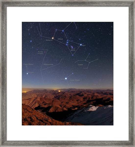 Orion And Sirius Over Iran Framed Print by Babak Tafreshi/science Photo Library