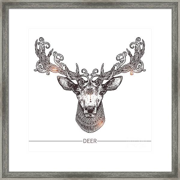 Ornamental Tattoo Deer Head. Highly Framed Print