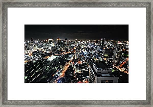 Osaka Night View Framed Print by Hiroaki Koga