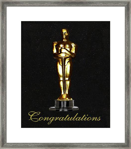 Framed Print featuring the photograph Oscars Congratulations by Eric Kempson