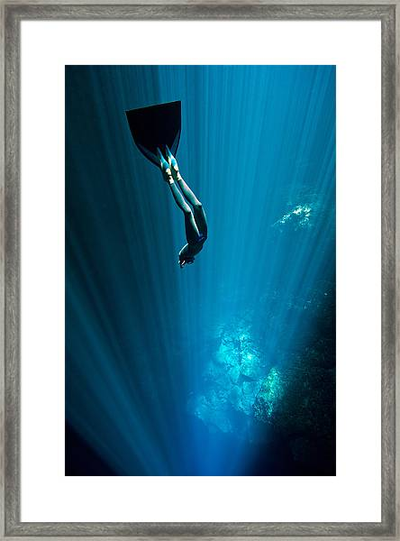 Into The Blue Framed Print by One ocean One breath