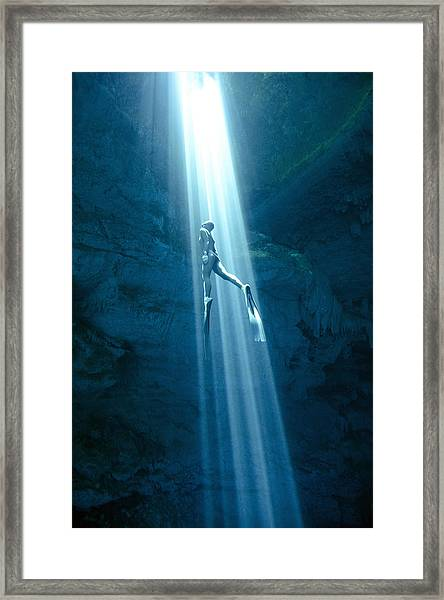 Into The Light Framed Print by One ocean One breath