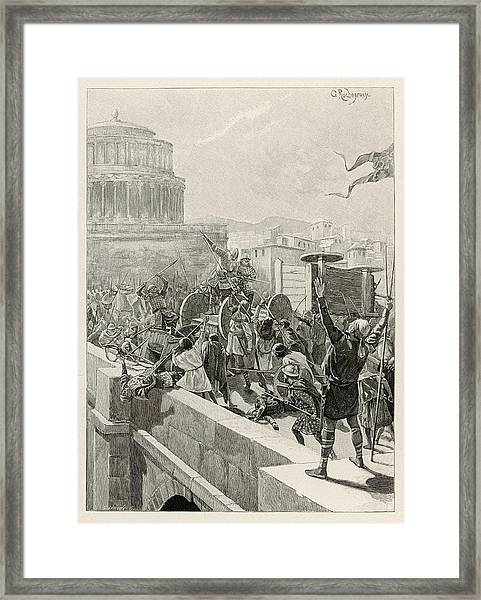 Otto I, King Of Germany, Takes  Rome Framed Print