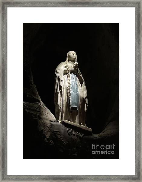 Our Lady Of Lourdes Grotto At Night Framed Print
