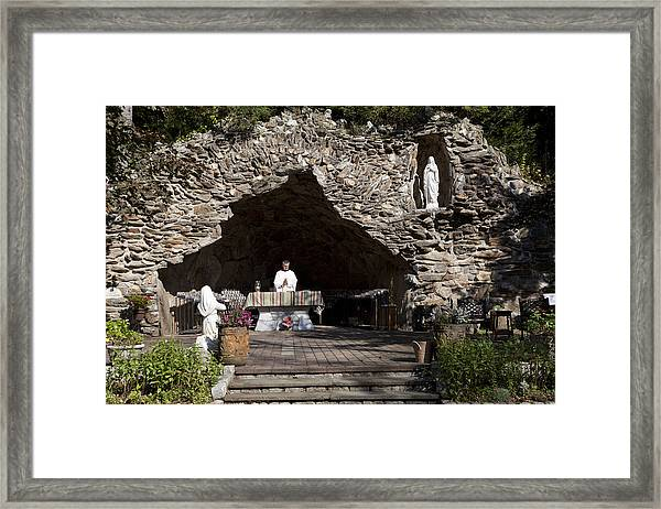 Our Lady Of Lourdes' Shrine In Litchfieldl Framed Print