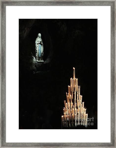 Our Lady Of Lourdes With Candles Framed Print