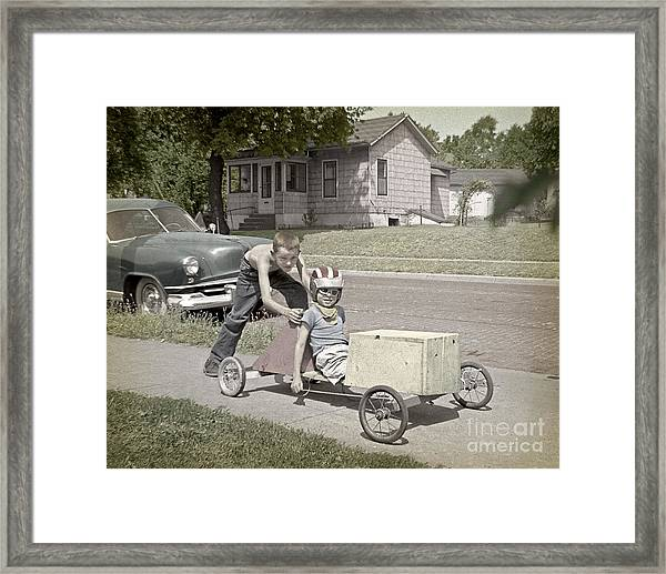 Our Racing Cart Framed Print