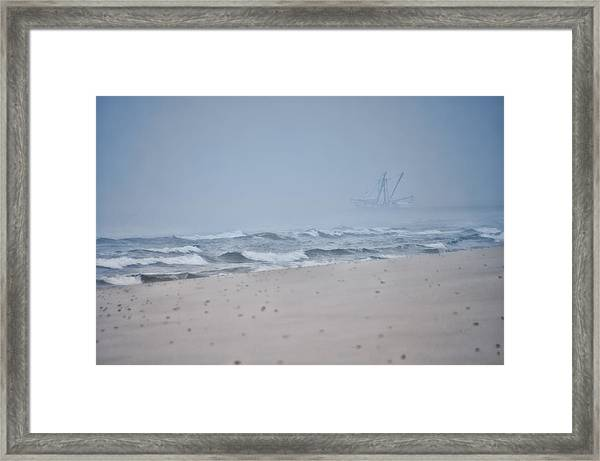 Framed Print featuring the photograph Out To The Foggy Sea - Barnegat Inlet by Beth Sawickie