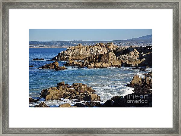 Outcroppings At Monterey Bay Framed Print