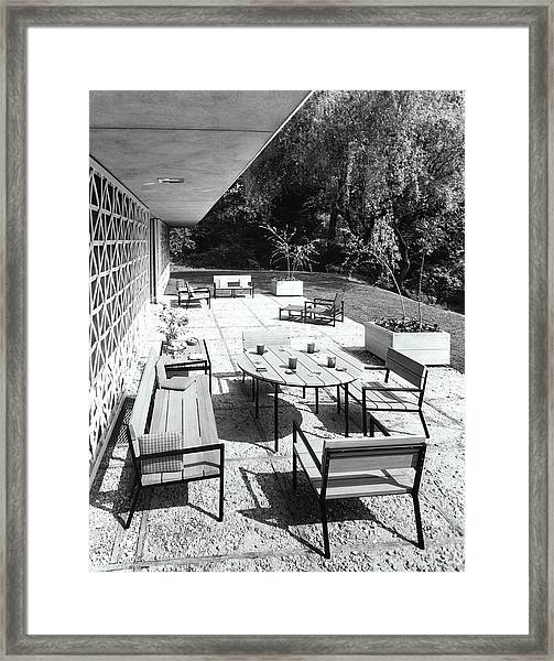 Outdoor Dining Area Framed Print