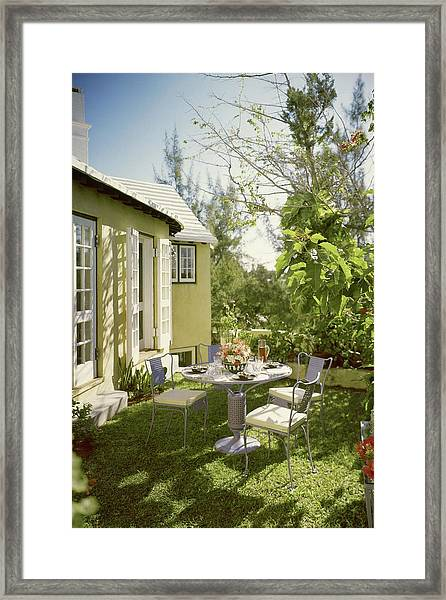 Outdoor Furniture At Shoreland House Framed Print