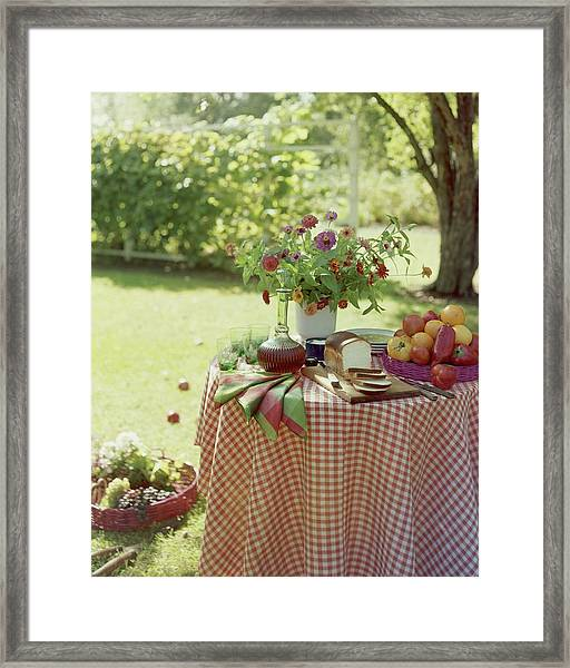 Outdoor Lunch In The Shade Of A Tree Framed Print