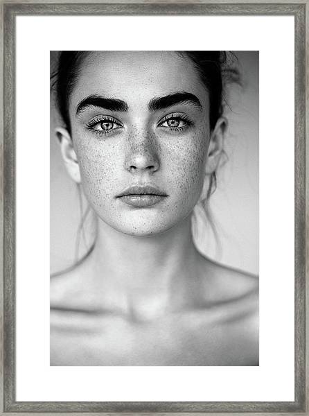 Outdoor Shot Of Young Beautiful Woman Framed Print by Coffeeandmilk