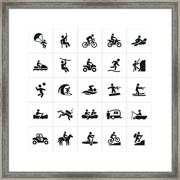 Outdoor Summer Recreation Icons Framed Print by Appleuzr
