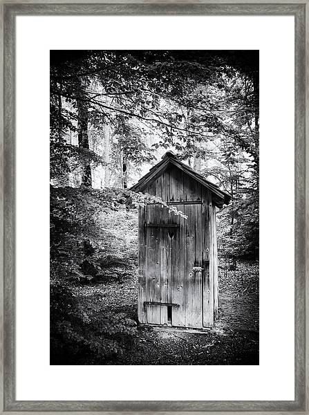 Outhouse In The Forest Black And White Framed Print