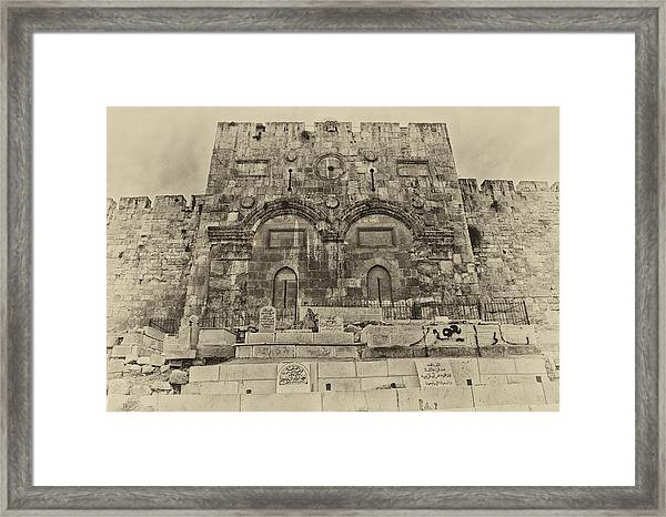 Outside The Eastern Gate Old City Jerusalem Framed Print