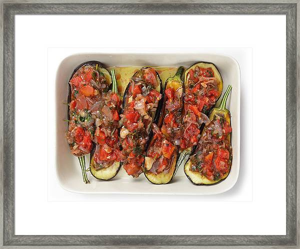 Oven Ready Stuffed Aubergines Framed Print