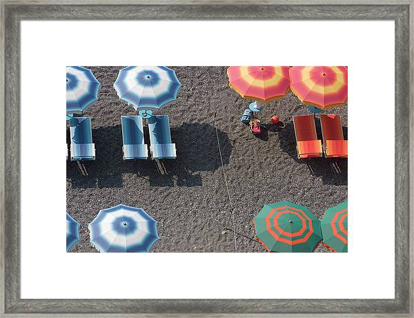 Overhead Of Beach Umbrellas And Framed Print