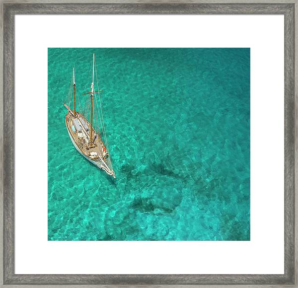 Overhead View Of A Sailboat, Caribbean Framed Print
