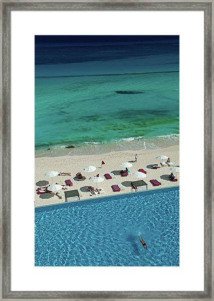 Overview Of Woman Swimming In Pool Framed Print