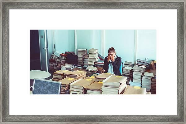 Overworked Office Worker, Bureaucracy, Archives Framed Print by Matjaz Slanic