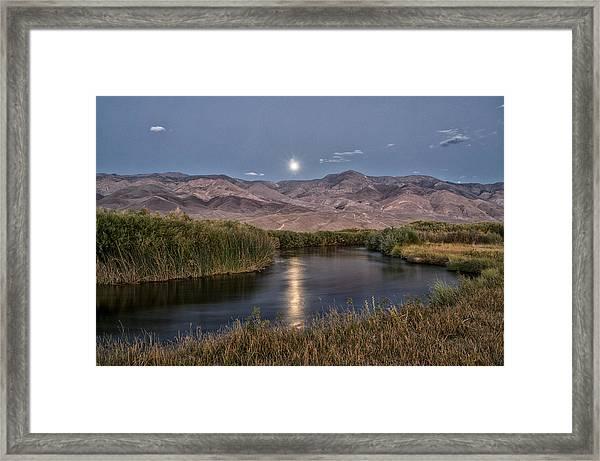 Owens River Moonrise Framed Print