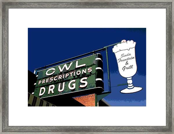 Owl Drugs  Framed Print
