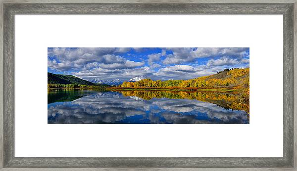 Oxbow Bend Peak Autumn Panorama Framed Print