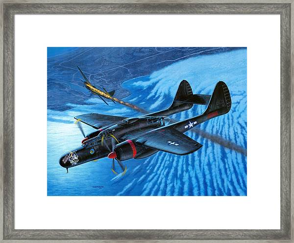 P-61 Black Widow  Caught In The Web Framed Print