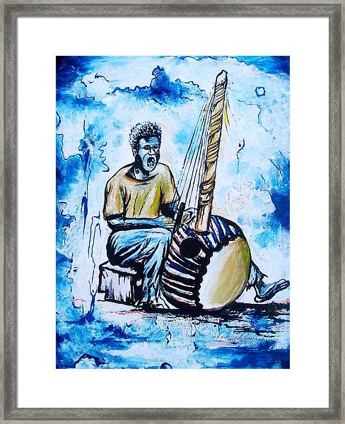 Pa Jacob And The Kora Guiter Framed Print