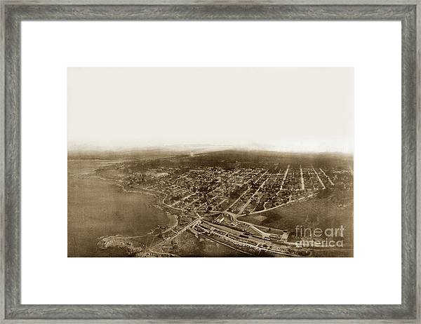 Pacific Grove 1200 From Feet Above Lovers Point And Monterey Bay 1906 Framed Print