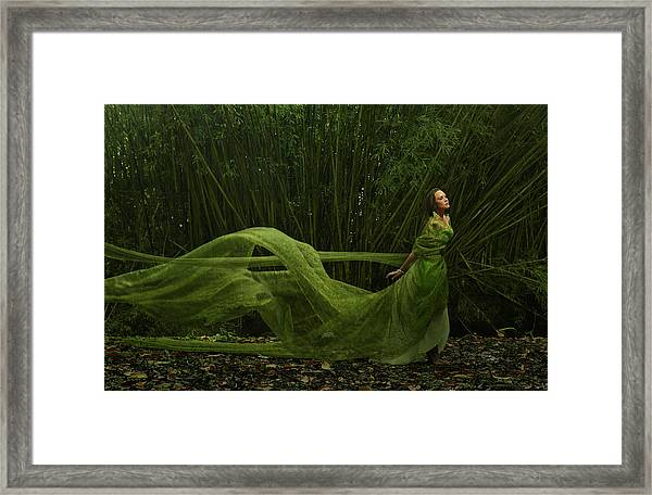 Pacific Islander Woman In Flowing Green Framed Print