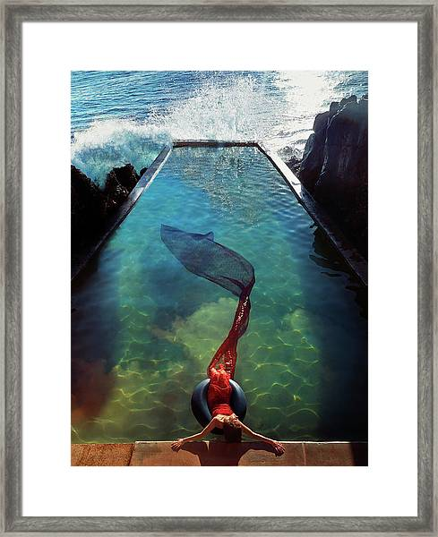 Pacific Islander Woman In Mermaid Framed Print by Colin Anderson Productions Pty Ltd