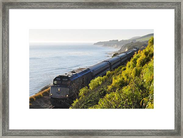 Pacific Surfliner Along The Central Coast Framed Print