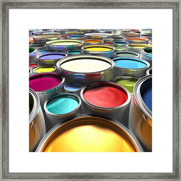 Paint Cans With Open Lids (digital) Framed Print by Ian McKinnell