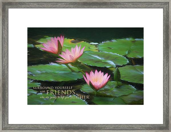 Painted Lilies With Message Framed Print