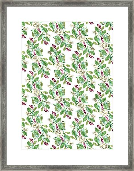 Painted Nature Coorsinating Foliage Leaves Pattern Framed Print