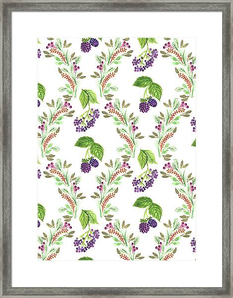 Painted Nature Damask Style Foliage With Brambles And Elderberries.jpg Framed Print
