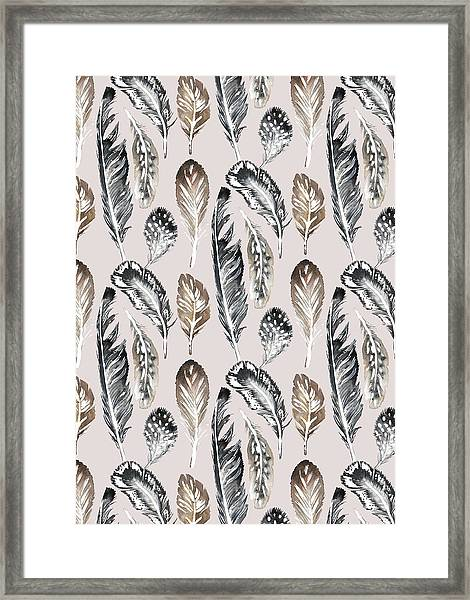 Painted Nature Feathers Watercolour Alternate On Soft Pink.jpg Framed Print