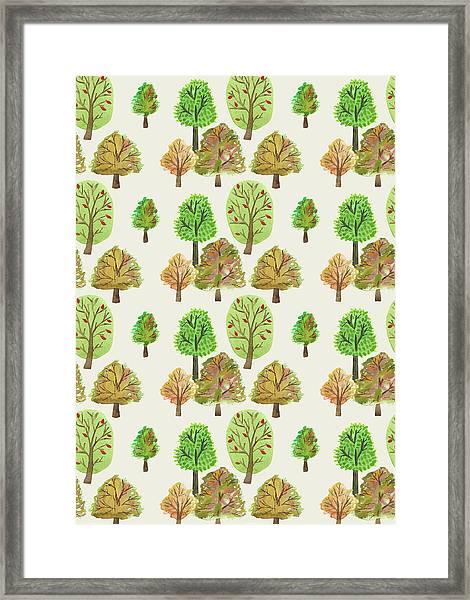 Painted Nature Trees Multi Watercolour Autumnal Print.jpg Framed Print